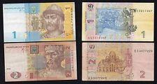 1 e 2  hryvnia Ucraine (2 banconote)