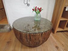 Reclaimed Driftwood 90cm Diameter Toughened Glass Top Coffee Table Code AT324