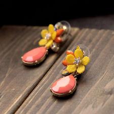 Yellow Daisy Flower Orange Drop Alloy Gold Tone Dangle Stud Earrings