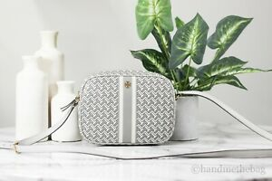 Tory Burch (64280) T Zag Small Leather French Gray Crossbody Bag Handbag Purse