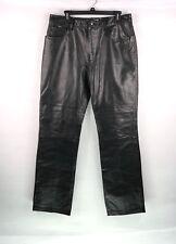 Armani Exchange Mens Size 34 Leather Pants Black Riding Biker 5 Pocket