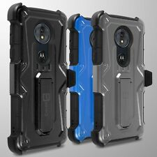 For Motorola Moto G6 Play / G6 Forge / E5 Holster Case Heavy Duty Faux Cover
