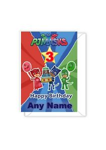 Personalised PJ MASKS birthday card, any name, any age