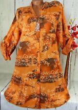 Bluse Shirt Retro Hemd Kleid Tunika Fischerhemd Oversize Baumwolle Orange 44 46