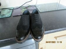 New Black Croc Leather Suede Brogue Clarks Shoes 5.5F 39F Walking Strong Casual