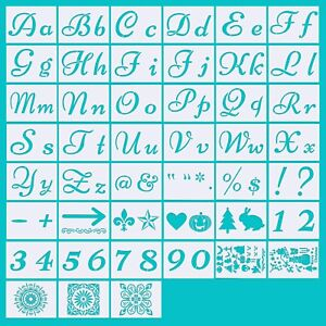 Letter Stencils for Painting on Wood Alphabet with Calligraphy Font Upper 45 PCS