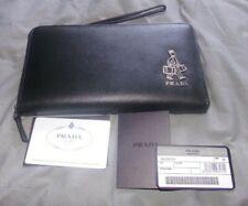 NEW men's black leather Prada clutch wallet PA162-11