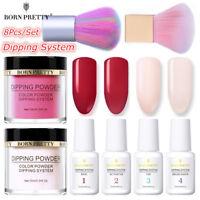 8Pcs BORN PRETTY Dipping Glitter Powder Nail Art Dip System Liquid Red  DIY