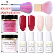 8Pcs BORN PRETTY Nail Art Dipping System Powder Glitter Dip Liquid Red  Kit