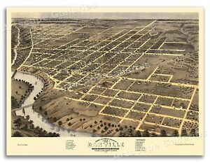 1869 Danville Illinois Vintage Old Panoramic City Map - 18x24