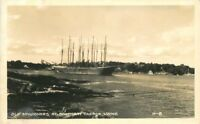 Boothbay Harbor Maine 1940s RPPC Photo Postcard Old Schooners 1227