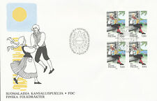 Finland 1989 FDC - National Folk Costumes - Brooch Cancel - Block of Four