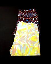 NWOT LuLaRoe Womens Leggings ONE SIZE Lot (2) Floral AZTEC Black Yellow