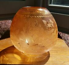 Original Victorian Amber cut glass crystal etched floral oil lamp shade 4 ins