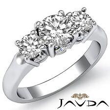 1.5ct Round Diamond Bezel Set Engagement 3 Stone Ring GIA F VVS2 14k White Gold