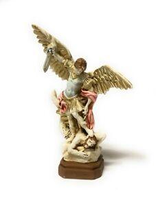 Statua di San Michele Arcangelo in resina colorata da cm. 13