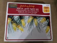 Holiday Living 100 ct GOLD Christmas Light Set Indoor Outdoor - NEW