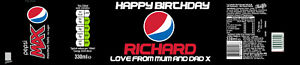 4 X PERSONALISED PEPSI MAX BOTTLE LABEL - PARTY / BIRTHDAY / WEDDING - BEST