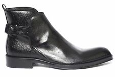 Jo Ghost292 M mens black  leather boots with whale print and buckle on a side