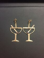 Vintage 14k Yellow Gold Red Stone Martini Cocktail Margarita Dangling Earrings
