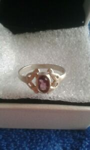 Ladies Vintage Silver & Amethyst Solitaire Ring UK M1/2 USA 6.5 Full Hallmarked