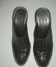 "DONALD J. PLINER ""Busy"" Dark Brown Woven Leather Clogs Slides Mules Shoes Sz6 M"