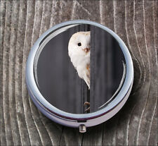 BIRD WHITE OWL PILL BOX ROUND METAL -anb7Z