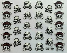 Nail Art 3D Decal Stickers Halloween Skull and Bones GL10