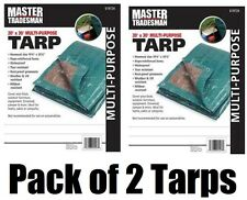 (2) Master Tradesman 20' x 30' Hunter Green / Brown Poly Storage Tarps