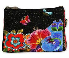 New LAUREL BURCH Cosmetic Bag BLOSSOMING SPIRITS Cat Feline Kitten Flower Purse
