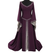 Women's Style Long Sleeve V-Neck Medieval Dress Floor Length Cosplay Dress ZH