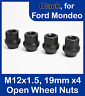 4 x Open Alloy Wheel Nuts for Ford Mondeo M12 x 1.5, 19mm Hex (Black)