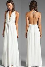 NEW~GORGEOUS~Women Med/Lg~Beach Cover Up~White Florets~HALTER MAXI Chiffon DRESS