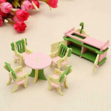 5pcs Wooden Dollhouse Furniture Doll House Miniature Dining Room Table Chair RKB