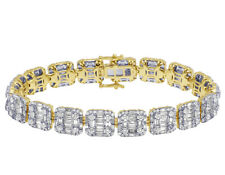 Unisex Real Baguette Diamond Bracelet In 14K Yellow Gold 10.95 CT 10MM 7.75""