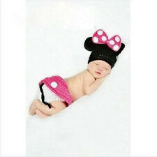 Pink Baby Girls Newborn-9M Knit Crochet Mickey Minnie Costume Photo Prop Outfits
