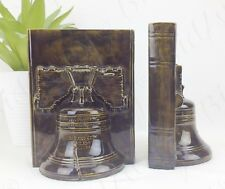 "PAIR of SOLID Rustic Bronze Colour ""PASS & STOW"" LIBERTY Church BELL Bookends"