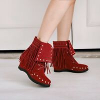 Womens Fashion Faux Suede Rivet Fringe Ankle Boots Hidden Wedge Heels Plus Size