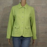 Coldwater Creek Petite 6 6P Bright Green Light Casual Jacket Square Texture