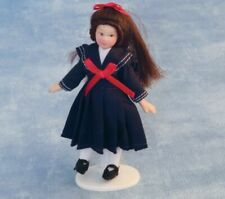 """DOLLS HOUSE DOLL 1/12th SCALE """" VICTORIAN""""  GIRL IN NAVY """"SAILOR"""" COSTUME"""