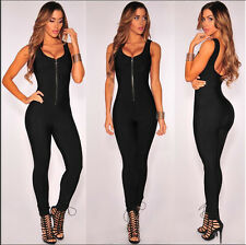 New Ladies Black Front Zip Sleeveless Jumpsuit Catsuit Club Wear Size UK 12