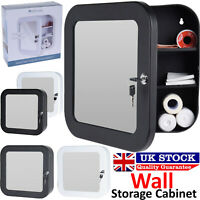 Stainless Steel Wall Mounted Lockable Mirrored Door Medicine First Aid Cabinet