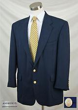 ANDHURST 42L Solid Navy Blue Blazer Sport Coat Jacket Gold Eagle Crown Buttons