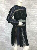 Lanvin New Runway Black Blue Lace Mesh Dress Zipper 4 US 40 IT S France
