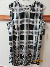 NWT Lord & Taylor 424 Fifth Sleeveless Cool Silky Poly Blk Gray Wht Top 0X 1X