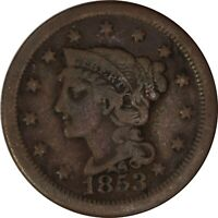 1853 1C Braided Hair Large Cent/Penny US Raw Coin