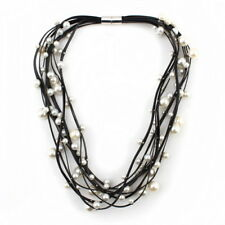 Black Leather Chain Chunky Bead Simulated Pearl Necklace for Women Bib Statement