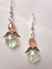 1 Pair of Crystal Glass Bead Angel Earrings Very Pretty-Pink And Cream
