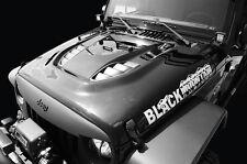THREE Blk Mountain Jeep Wrangler JK Power Dome Style Hood 07-17 10th Anniversary