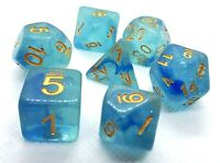 RPG Würfel Set 7-teilig Poly DND dice4friends Rollenspiel w4-w20 Tabletop Blau
